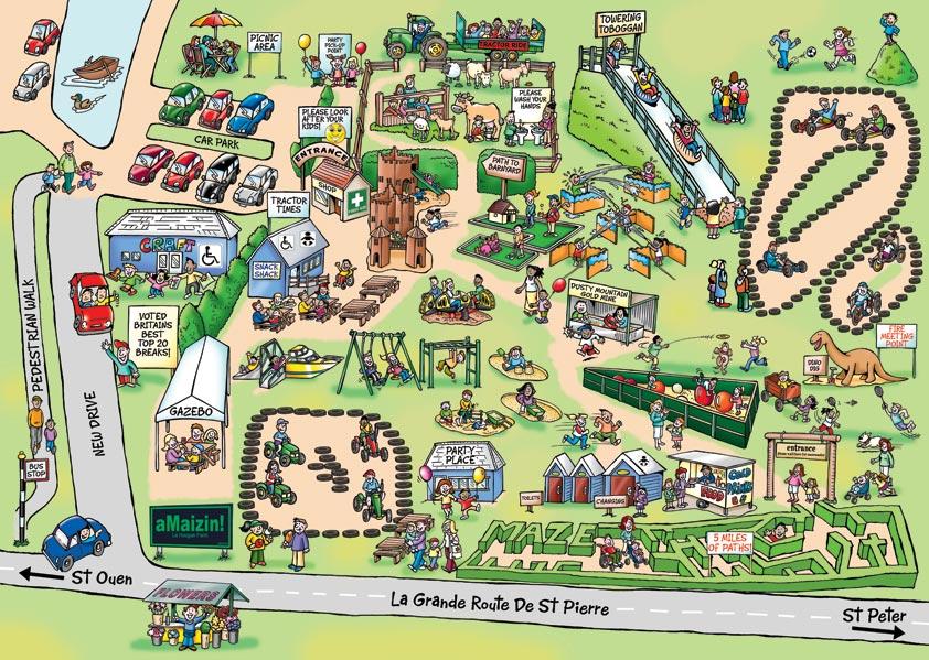 Cartoon Map For AMaizin Theme Park!